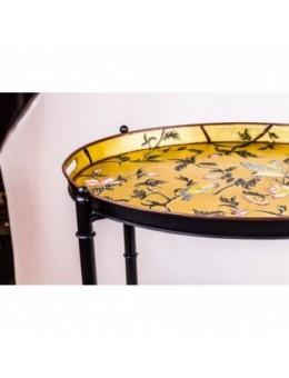 Vassoio con pliant - Tavolino con decoro dipinto su foglia oro