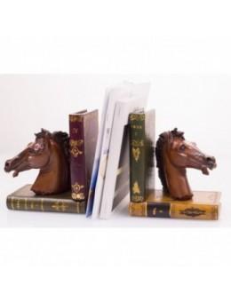 Fermalibri Testa di cavallo in legno e pelle