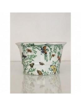 Coppa vaso in porcellana con decori Farfalle