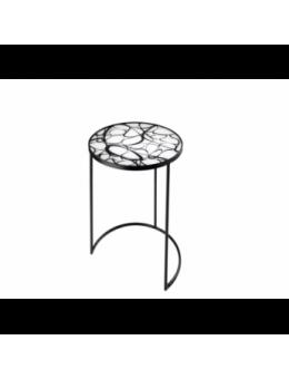 Tavolino tondo in vetro colorato